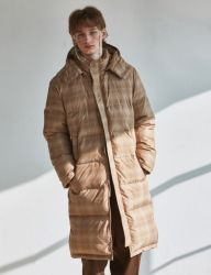 [SCULPTOR] CHECK DUCK-DOWN BENCH COAT 950 [BEIGE]