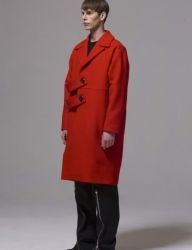 [BY D BY] two blet oversize coat_red