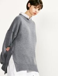 [VOIEBIT] SIDE BUTTON ROUND WOOL KNIT_GRAY