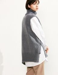 [VOIEBIT] BUTTON TURTLE WOOL VEST KNIT_GRAY