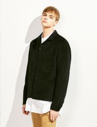 [VOIEBIT] WOOL POCKET SHORT SHIRT_BLACK