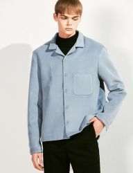 [VOIEBIT] WOOL POCKET SHORT SHIRT_SKYBLUE
