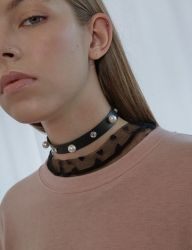 [bpb] Pearl Cubic Leather Choker