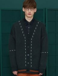 [UNALLOYED] DOTTED LINE CARDIGAN / GREEN