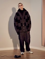 [TRUNK PROJECT] Chess Knit Cardigan Jacket_black