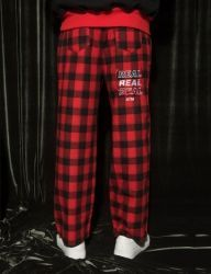 [AT THE MOMENT] Set Check Pants [RED]
