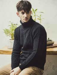[KNITTED] LAMSWOOL TURTLENECK FISHERMAN KNIT 2 COLOR