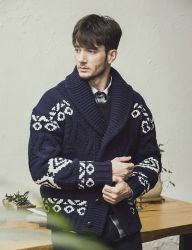 [KNITTED] HEAVY LAMBSWOOL 3GAUGE COWICHAN SHAWL CARDIGAN 3 COLOR