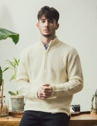 [KNITTED] MERINOWOOL WAFFLE EMBOSS HALF ZIP-UP KNIT 2COLOR