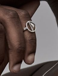 [090FACTORY] [Silver]Quarter sphere Ring 1 (Silver, Gold)