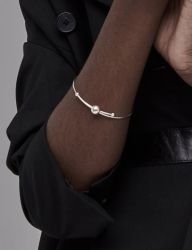 [090FACTORY] [Silver]Line and solid Bangle
