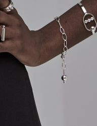 [090FACTORY] [Silver]Line and solid Bracelet