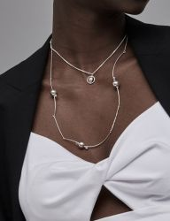 [090FACTORY] [Sliver]Line and solid Necklace 2
