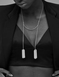 [090FACTORY] [Silver]Chain cylinder Necklace 2