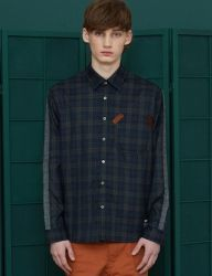 [UNALLOYED] SIDELINE CHECK SHIRT [NAVY]