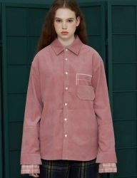[UNALLOYED] SLEEVE LAYERED CORDUROY SHIRT [PINK]