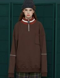 [UNALLOYED] ZIP POLA SWEATSHIRT [BROWN]