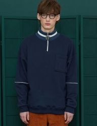 [UNALLOYED] ZIP POLA SWEATSHIRT [NAVY]