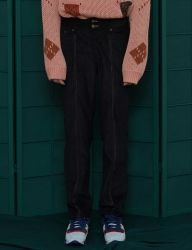 [UNALLOYED] STITCH CORDUROY WORK PANTS [BLACK]