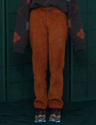 [UNALLOYED] STITCH CORDUROY WORK PANTS [ORANGE BROWN]