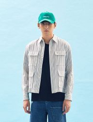 [FREIKNOCK] STRIPE FRONT POCKET SHIRT