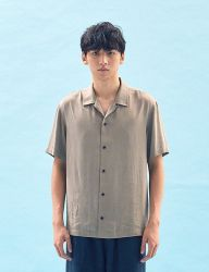 [FREIKNOCK] BASIC TENCEL OPEN COLLAR SHIRT