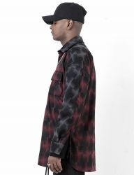 [BLESSED BULLET] HBM5 OVERSIZE CHECK SHIRTS-RED