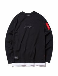 [GROOVERHYME] 2018 WEBBING TAPE LAYERED T-SHIRTS OVER FIT [GTS005G13]