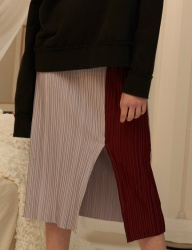 [1159STUDIO] MH5 COLOR POINT PLEATS SKIRT_RD