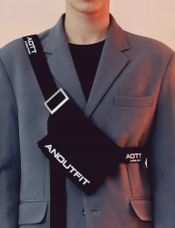 [ANOUTFIT] UNISEX COTTON UTILITY BAG BLACK