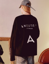 [ANOUTFIT] UNISEX A-PRINTING LONGSLEEVE BLACK