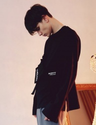 [ANOUTFIT] UNISEX OVERFIT CUFFS LONG SLEEVE BLACK