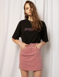 [SCULPTOR] PIGMENT SKIRT [DARK PINK]