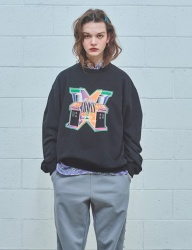 [MIMICAWE] CROSS OVER PRINTED SWEAT SHIRTS/BLACK