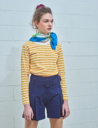 [MIMICAWE] BRICK LABELED STRIPE LONG SLEEVE TOP WITH SCARF/YELLOW