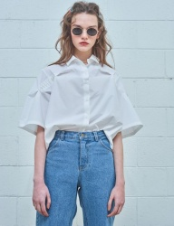 [MIMICAWE] CURSIVE MMCW TUCKED OVER SHIRTS/WHITE