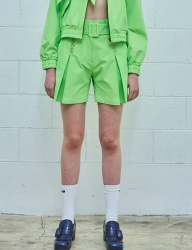 [MIMICAWE] CURSIVE MMCW BELTED SHORTS/LIME GREEN