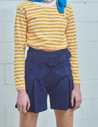 [MIMICAWE] CURSIVE MMCW BELTED SHORTS/NAVY