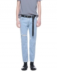 [VUIEL] BLEACH WHITE BLUE DESTROYED SLIM DENIM