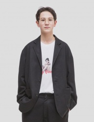 [WKNDRS] OVERSIZED SINGLE JACKET [BLACK]