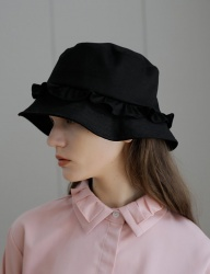 [YUPPE] frill bucket hat [black]