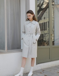 [YUPPE] frill trench coat [light grey]