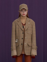 [UNALLOYED] WOOL CHECK JACKET [BEIGE]