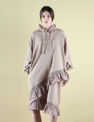 [CLUTSTUDIO] 0 5 ruffle hood dress - beige