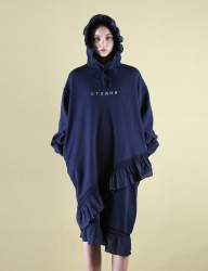 [CLUTSTUDIO] 0 5 ruffle hood dress - navy
