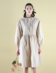 [CLUTSTUDIO] 0 6 pintuck hood dress - beige