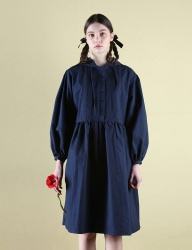 [CLUTSTUDIO] 0 6 pintuck hood dress - navy