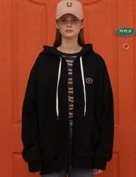 [UNALLOYED] 8OY ZIP-UP HOODIE / BLACK