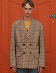 [UNALLOYED] CHECK DOUBLE JACKET / BEIGE