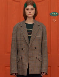[UNALLOYED] CHECK DOUBLE JACKET / GREY